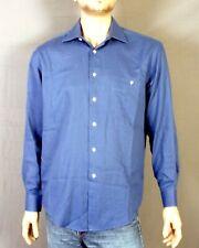 euc YSL Yves Saint Laurent Solid Blue Woven Cotton Blend Dress Shirt L 16 34/35