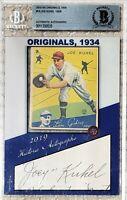 2019 HA HISTORIC AUTOGRAPHS ORIGINALS 1934 GOUDEY #16 JOE KUHEL AUTO 10/28