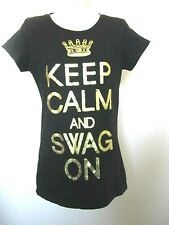 Keep Calm and Swag On Tees Black T-shirt Size Large