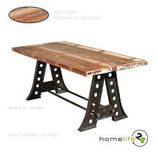 Table de salle à manger unique style Vintage noir bois de manguier recyclé po...
