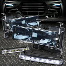 SMOKED HOUSING HEADLIGHT HEADLAMP+8 LED GRILL FOG LIGHT FOR 88-98 CHEVY C10 C/K