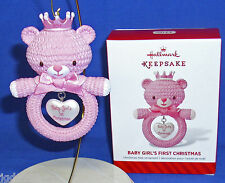 Hallmark Ornament Baby Girl's First Christmas 2014 Pink Girl Bear in Tiara NIB