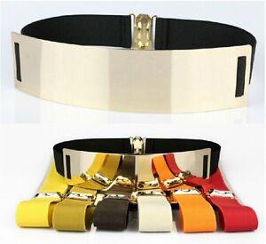 HQ Woman Lady Fashion Metallic Mirror Elastic Belt Wide Shinny Metal Waist Band