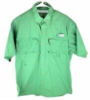 Magellan Mens Green Short Sleeve Vented Back Button Up Fishing Shirt Size Large