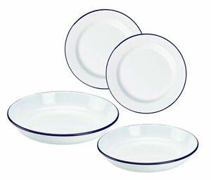 2 x White Enamel Plate Dinner Pie Baking Roasting Camping Plate Blue Rim