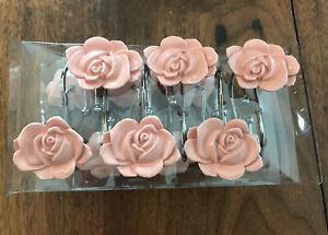 Better Homes & Gardens Tranquil Floral Shower Hooks Floral Rose Set of 12