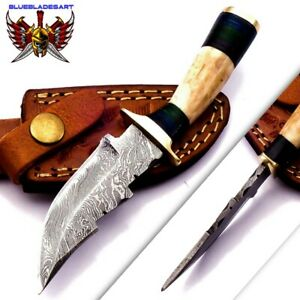 Custom Hand Made Forged Damascus Steel Hunting Bowie Knife handle Deer antler