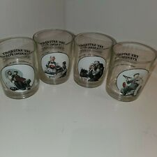 Vintage Norman Rockwell Set of 4 Drinking Glass Drinkware Collector Series