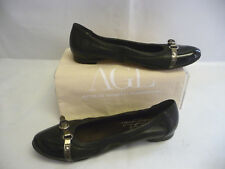 AGL Womens Ballet Flats 40 10 Black Leather Patent Captoe Silver Strap Italy