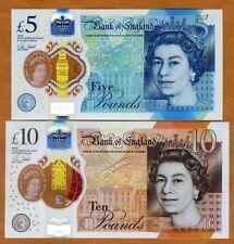 SET Great Britain 5;10 pounds, 2016-2017 Jane Austen, Churchill, UNC > Polymer