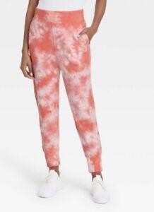 Women's Mid-Rise Tie-Dye Drop Crotch Jogger Pants Zipper Pocket Coral L #10