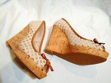 CAFE NOIR Wedges 39 Heels Beige Open Toes Peep Cork Platforms Shoes New