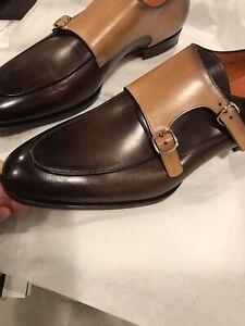 Santoni New Double Monkstrap Leather Shoes 13