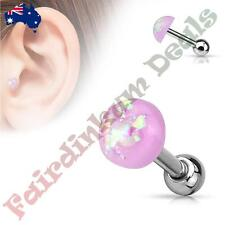 316L Surgical Steel Tragus/Cartilage Stud with Purple Glitter Opal Dome Top