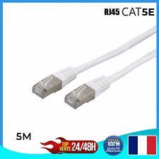 Câble réseau ethernet RJ45 CAT 5E - BLANC - Ordinateur Console Jeux-vidéo 5m
