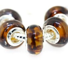 5PCS Silver Murano Lampwork Glass Beads fit European Charm Bracelet IL31