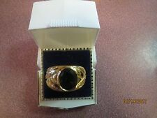 GIFT IDEA! HGE Men's HANDSOME GOLD PLATED Ring Size 12 GREEN STONE FAUX EMERALD