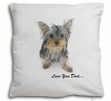 Yorkie 'Love You Dad' Soft Velvet Feel Cushion Cover With Inner Pil, DAD-138-CPW