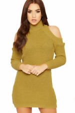Knee Length Acrylic Turtleneck Dresses for Women