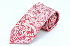Lord R Colton Masterworks Tie - Ruby Red Silver Dust Paisley Silk Necktie - New