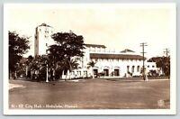 "Honolulu HI~Trolley Tracks~Art Deco City Hall~""X"" Marks Patsy's Office~RPPC 1945"