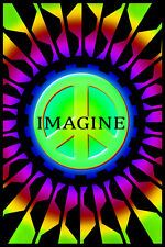 IMAGINE - PEACE SIGN BLACKLIGHT POSTER - 24X36 FLOCKED 1943
