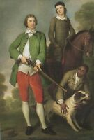 """oil painting handpainted on canvas""""a man and his son, servant,dog"""" NO4801"""