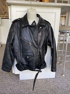 Vintage Leather  Motorcycle Biker Lined Distressed Men size medium black