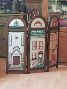 Unique Wood  Needlepoint Room Divider Three Panels St Anthony Church School Home