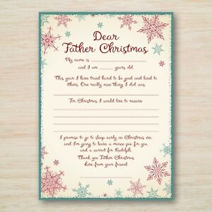 Children's Letter to Santa Father Christmas with Envelope Present Gift Wish List