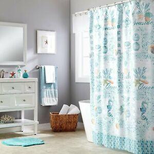 Saturday Knight Ltd South Seas Beach Life Fabric Bath Shower Curtain, 70x72 Teal