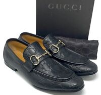 Auth GUCCI Guccissima GG Logo Horsebit Loafer Flat Shoes #42.5 US 9.5 Rank AB+