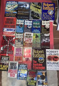 Lot (23) Robert Ludlum books lot, (7) hardcover,  + 16 paperbacks mix Good- VG