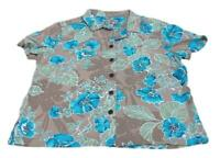 Caribbean Joe Women's Shirt Casual/Vacation Collar Button Down Floral Size Large