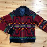 PENDLETON Wool Jacket Blouson Native Ortega Red Tone Men's S Vintage From Japan