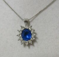 Vintage Silver Tone Blue and Crystal Rhinestone Pendant Necklace