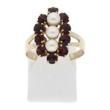 Granat Perlen Ring 333 Gold Größe 60 8 Karat roter Edelstein Schmuck R03.3451
