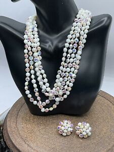 vintage Signed Vogue 5 Strand necklace and matching clip earrings Stunning