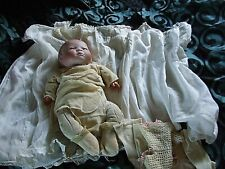 BYE LO BABY DOLL 1920s WITH CUSTOM MADE CLOTHES and HAND MADE WOODEN BOX