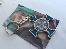 St Saint Benedict Cross Medal  Key Chain Blue  / Cruz De San BENITO en Llavero
