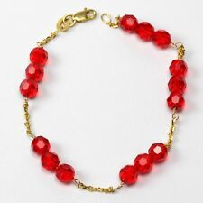 14k Yellow Gold Chain Bracelet with Red Color Beads ( 5 1/2inches)