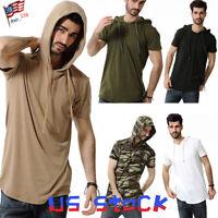 Men T-Shirts Hoodie Camo Casual Short Sleeve Hipster Raglan Fashion Pullover US
