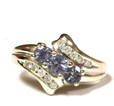 14k white gold .20ct SI2 H diamond round Iolite womens ring 4.1g estate vintage