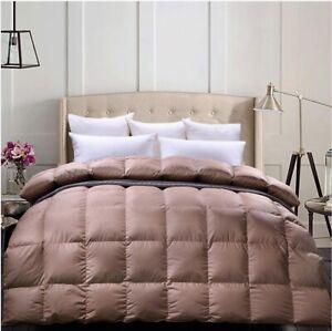 C&W All Season Goose Down Comforter Queen Size 650+ Fill Power, Full/Queen Brown