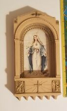 Vintage Sacred Heart of Mary With Angels and Cross Holy Water Plastic Pretty
