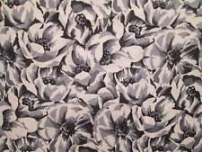 Vintage Fabric Cotton Linen Blend Large ROSES White Gray Black 45x157