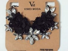 Quality Clear Crystal & Black Fabric Flower Design Statement collar Necklace