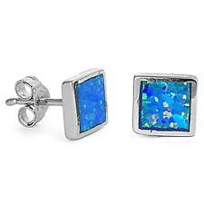 Blue Opal Square Shape Stud .925 Sterling Silver Earrings