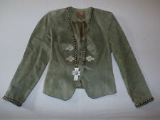 Double D Ranch Women's Leather Studded Blazer Jacket Green Size XS