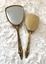 Vintage Brush And Mirror Set Gold Tone Rhinestone